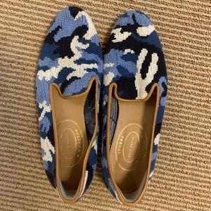 STUBBS & WOOTTON BLUE CAMO NEEDLEPOINT LOAFER 9.5